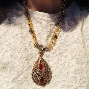 Vge Rhinestone Marcasite GoldTone Pendant Necklace